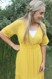 Mustard Lace Detail Midi Dress
