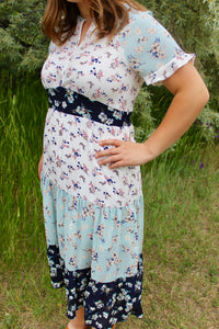 Mixed Floral Midi Dress