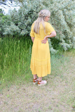 Load image into Gallery viewer, Mustard Lace Detail Midi Dress