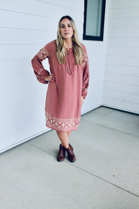 Boho Embroidered Long Sleeve Dress