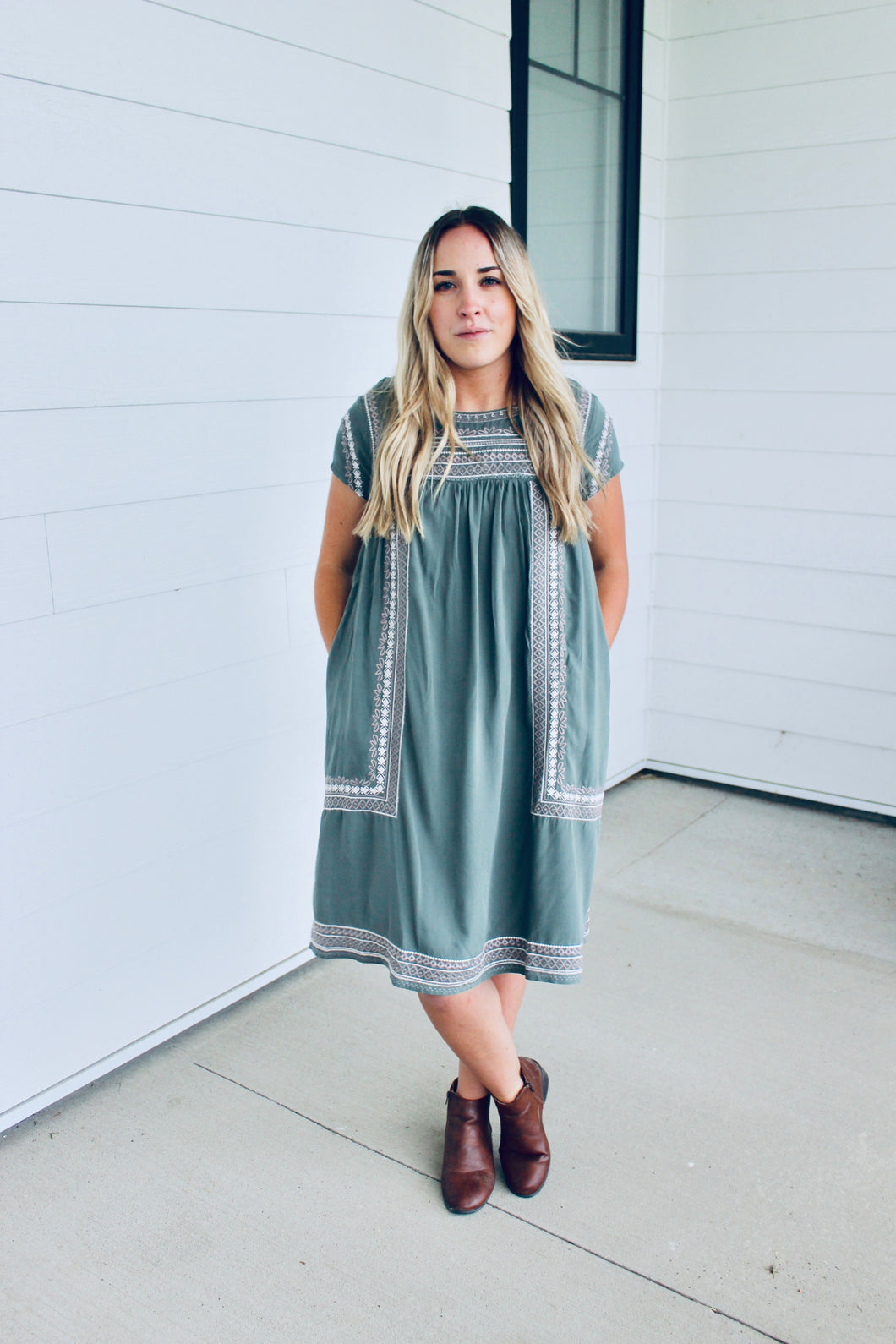 Moss Embroidered Dress