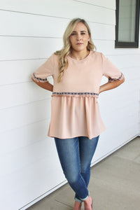Embroidered Empire Waist Blouse