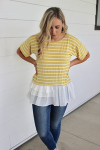 Stripe with White Ruffle Bottom-Yellow