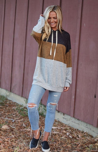 Sweater Knit Color Block Hoodie
