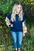 Load image into Gallery viewer, Navy Waffle Knit with Boho Sleeves