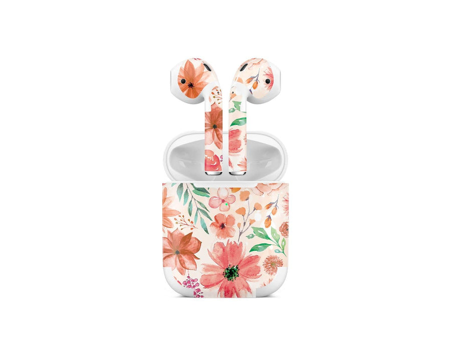 Sticky Bunny Shop AirPods 2 Orange Watercolor Flowers AirPods 2 Skin