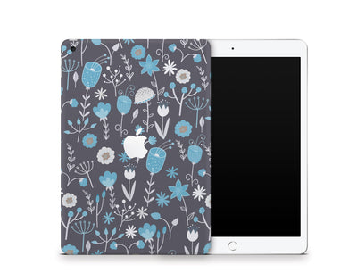 "Sticky Bunny Shop iPad Skins iPad 10.2"" Gen 7 (2019) Cute Blue Flowers iPad Skin"