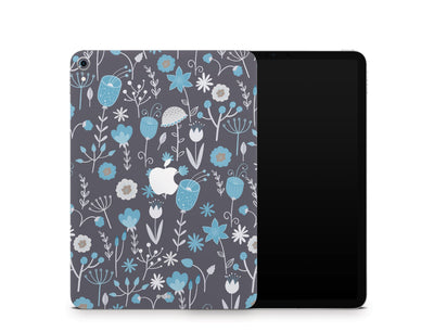 "Sticky Bunny Shop iPad Skins iPad Pro 11"" Gen 1 (2018-2019) Cute Blue Flowers iPad Skin"