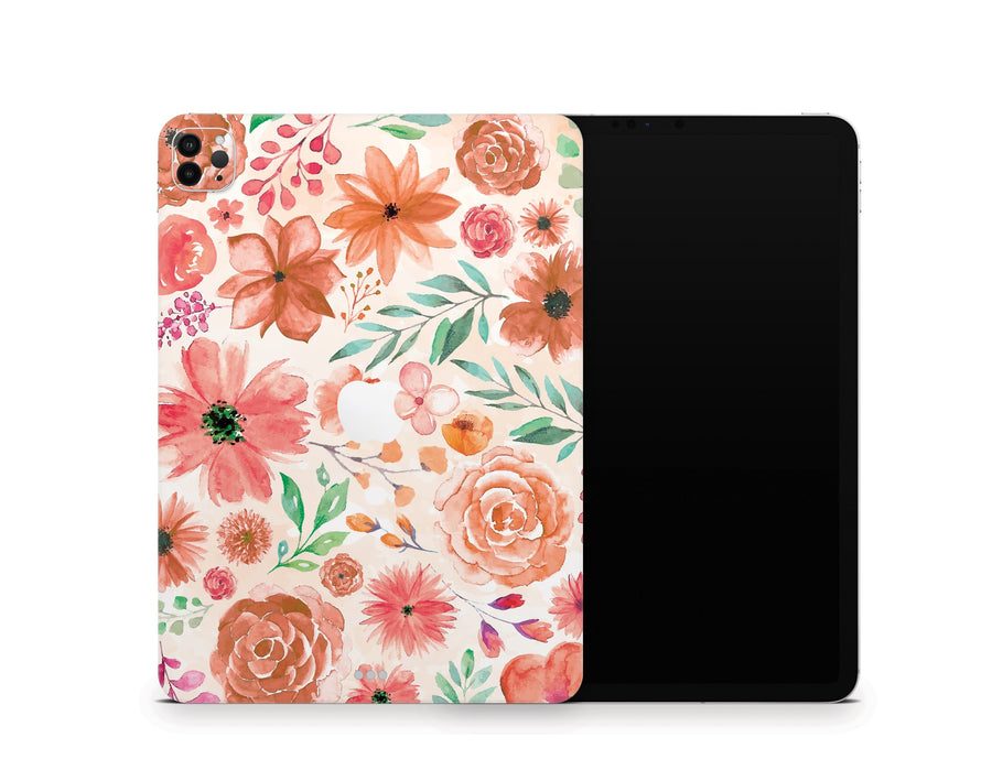 Sticky Bunny Shop iPad Skins iPad Air 3 Orange Watercolor Flowers iPad Skin