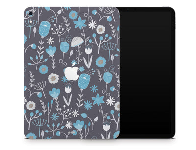 "Sticky Bunny Shop iPad Skins iPad Pro 12.9"" Gen 3 (2018-2019) Cute Blue Flowers iPad Skin"