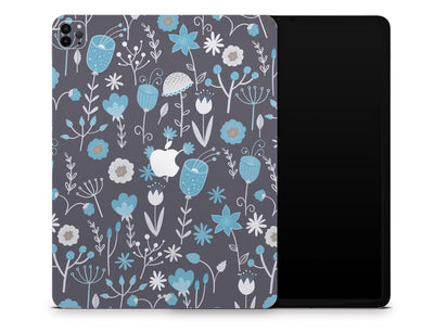 "Sticky Bunny Shop iPad Skins iPad Pro 12.9"" Gen 4 (2020) Cute Blue Flowers iPad Skin"