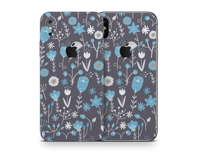 Sticky Bunny Shop iPhone Skins Cute Blue Flowers iPhone Skin