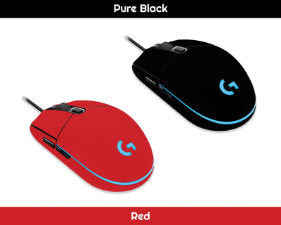 Sticky Bunny Shop Mouse Skins Pure Black Classic Solid Color Logitech G203 Prodigy Mouse Skin | Choose From A Variety Of Color Options