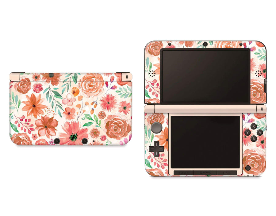 Sticky Bunny Shop Nintendo 3DS XL New 3DS XL Orange Watercolor Flowers Nintendo 3DS XL Skin