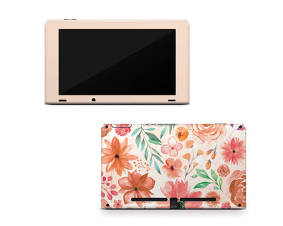 Sticky Bunny Shop Nintendo Switch Console Only Orange Watercolor Flowers Nintendo Switch Skin