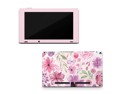 Sticky Bunny Shop Nintendo Switch Console Only Watercolor Flowers Nintendo Switch Skin