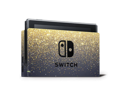 Sticky Bunny Shop Nintendo Switch Dock Only Gold Simple Dots Printed Nintendo Switch Skin