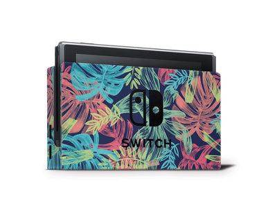 Sticky Bunny Shop Nintendo Switch Dock Only Neon Tropical Leaves Nintendo Switch Skin