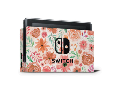 Sticky Bunny Shop Nintendo Switch Dock Only Orange Watercolor Flowers Nintendo Switch Skin
