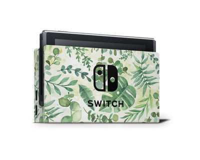 Sticky Bunny Shop Nintendo Switch Dock Only Watercolor Leaves Nintendo Switch Skin
