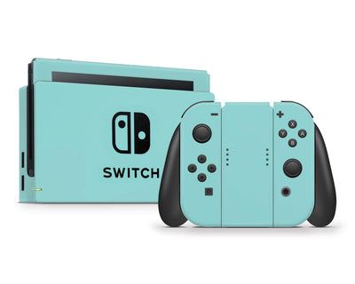 Sticky Bunny Shop Nintendo Switch Full Set / Light Teal Cute Solid Pastel Nintendo Switch Skin | Choose Your Color