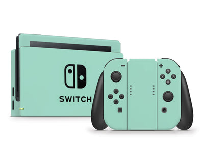 Sticky Bunny Shop Nintendo Switch Full Set / Mint Cute Solid Pastel Nintendo Switch Skin | Choose Your Color