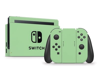 Sticky Bunny Shop Nintendo Switch Full Set / Pastel Green Cute Solid Pastel Nintendo Switch Skin | Choose Your Color