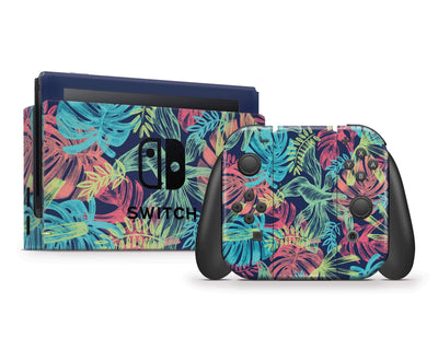 Sticky Bunny Shop Nintendo Switch Full Set Tropical Leaves Neon Nintendo Switch Skin