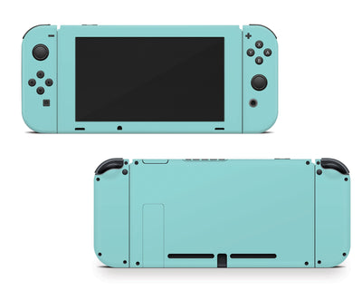 Sticky Bunny Shop Nintendo Switch Joy-Cons + Console / Light Teal Cute Solid Pastel Nintendo Switch Skin | Choose Your Color