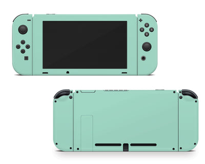 Sticky Bunny Shop Nintendo Switch Joy-Cons + Console / Mint Cute Solid Pastel Nintendo Switch Skin | Choose Your Color