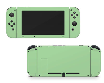 Sticky Bunny Shop Nintendo Switch Joy-Cons + Console / Pastel Green Cute Solid Pastel Nintendo Switch Skin | Choose Your Color