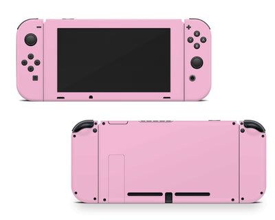 Sticky Bunny Shop Nintendo Switch Joy-Cons + Console / Pastel Pink Cute Solid Pastel Nintendo Switch Skin | Choose Your Color