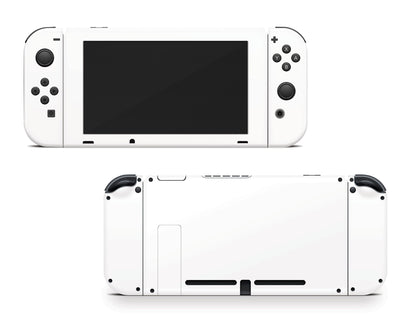 Sticky Bunny Shop Nintendo Switch Joy-Cons + Console / Pure White Cute Solid Pastel Nintendo Switch Skin | Choose Your Color