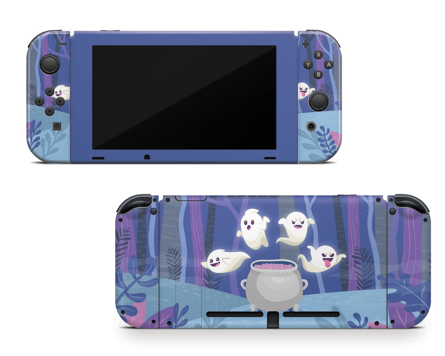 Sticky Bunny Shop Nintendo Switch Full Set Spooky Ghosts Purple Edition Nintendo Switch Skin