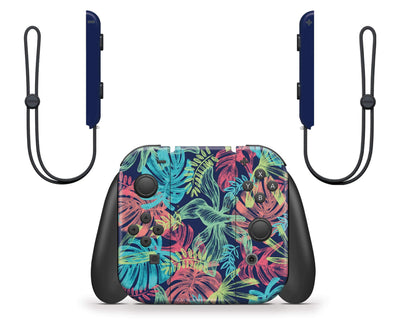 Sticky Bunny Shop Nintendo Switch Neon Tropical Leaves Nintendo Switch Skin