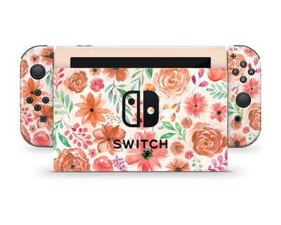 Sticky Bunny Shop Nintendo Switch Orange Watercolor Flowers Nintendo Switch Skin