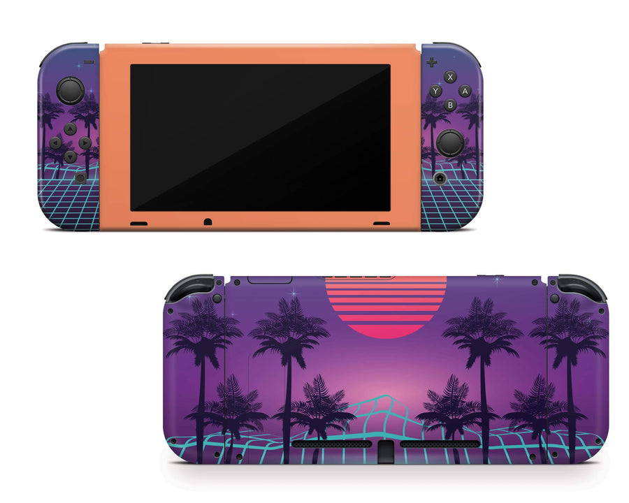 Sticky Bunny Shop Nintendo Switch Full Set Vaporwave Outrun Retro 80s Nintendo Switch Skin