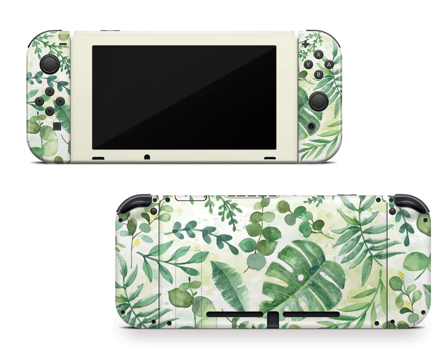 Sticky Bunny Shop Nintendo Switch Watercolor Leaves Nintendo Switch Skin