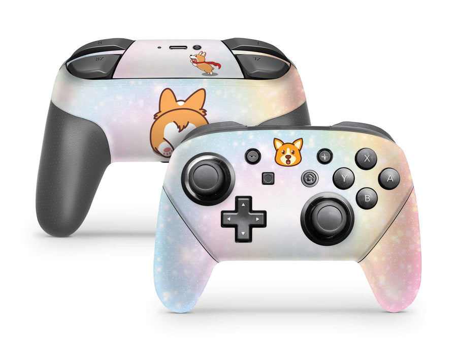 Sticky Bunny Shop Pro Controller Cute Corgi Pup Pastel Swirl Nintendo Switch Pro Controller Skin