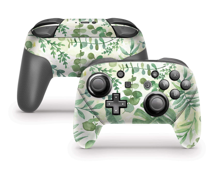 Sticky Bunny Shop Pro Controller Watercolor Leaves Nintendo Switch Pro Controller Skin