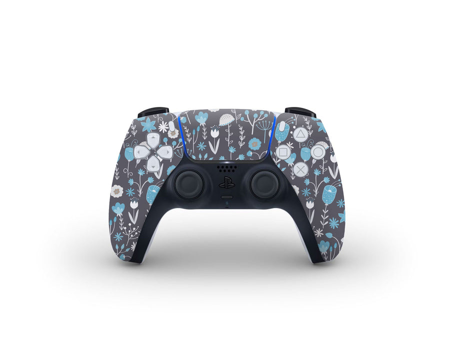 Sticky Bunny Shop PS5 Controller Cute Blue Flowers PS5 Controller Skin