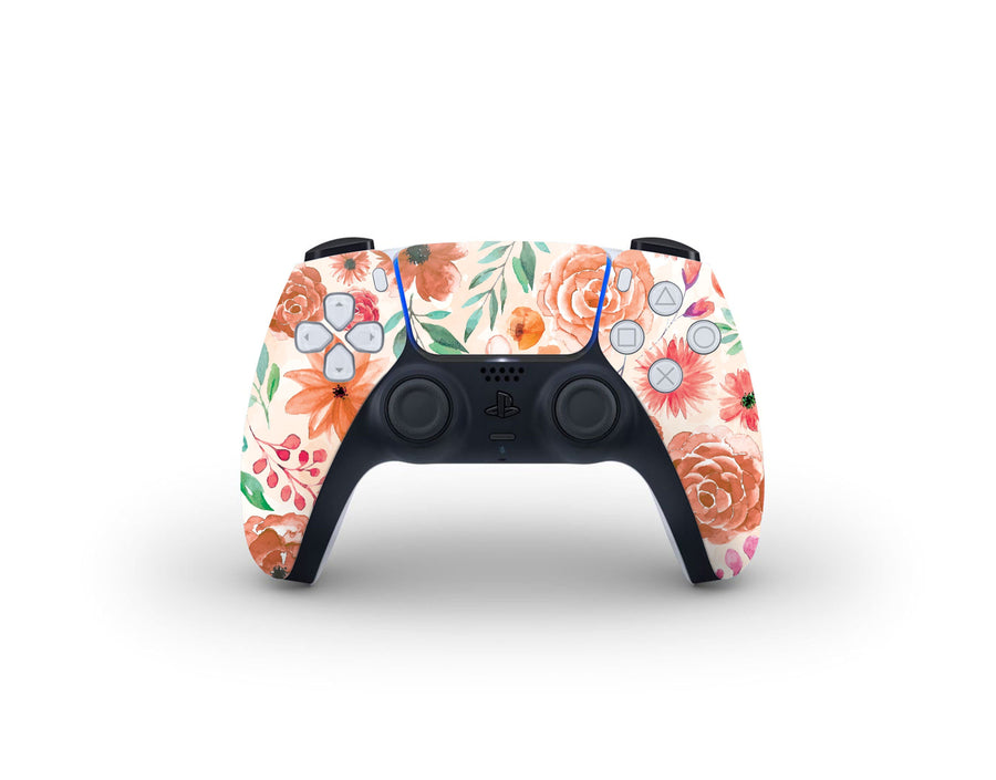 Sticky Bunny Shop PS5 Controller Orange Watercolor Flowers PS5 Controller Skin
