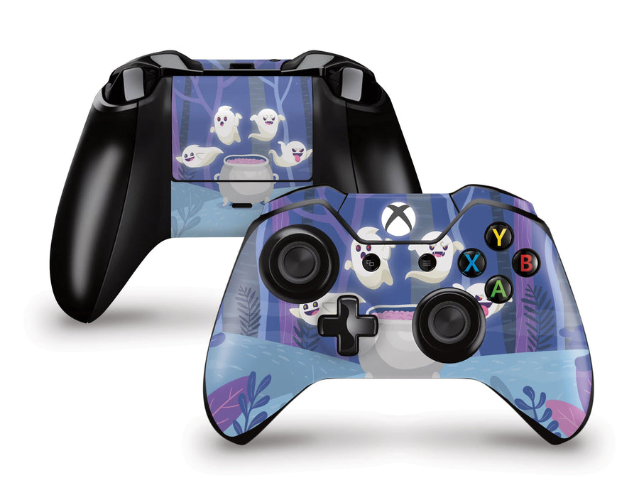 Sticky Bunny Shop Xbox Controller Spooky Ghosts Purple Edition Xbox Controller Skin