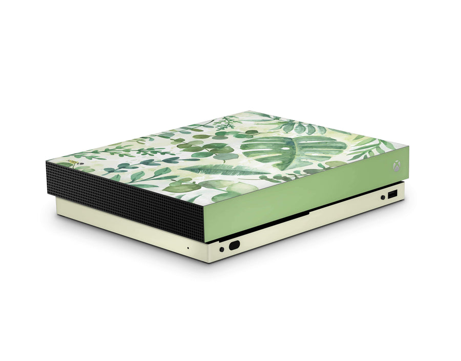 Sticky Bunny Shop Xbox One X Watercolor Leaves Xbox One X Skin