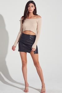 Midnight black leather skirt