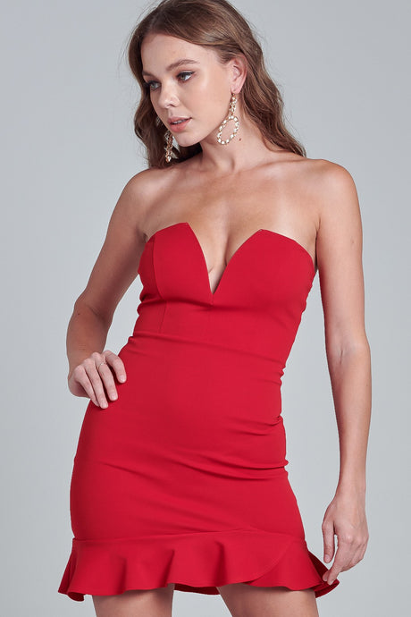 Out on the town red strapless dress