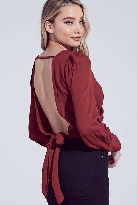 Feeling Lucky burgundy open back top
