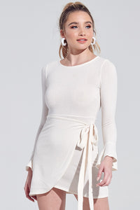 Winter Wonderland Long Sleeve White Wrap Dress