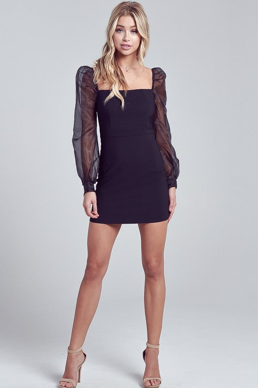 Show stopper long sleeve black dress