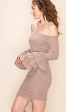 Load image into Gallery viewer, Blair Beige off the shoulder dress